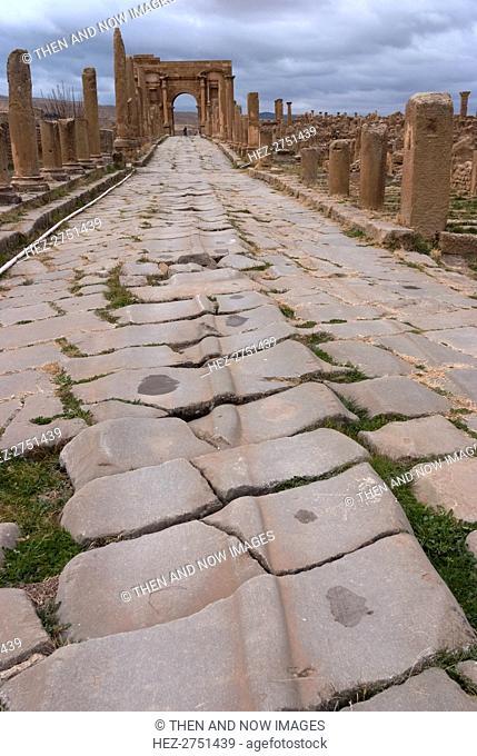 Algeria, Timgad, Cardo with cart tracks