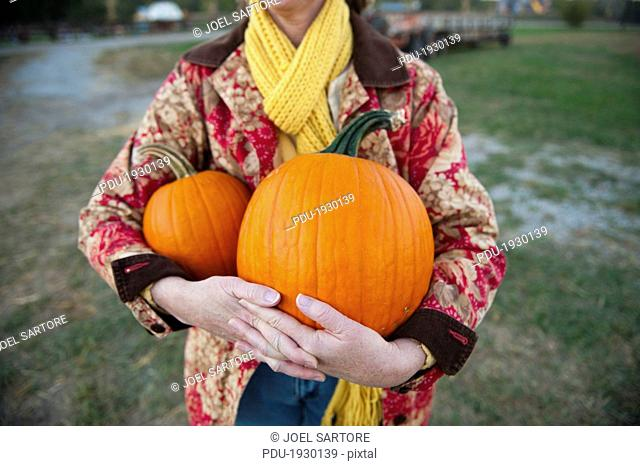 Lincoln, Nebraska.A woman fills her arms with pumpkins from a pumpkin patch