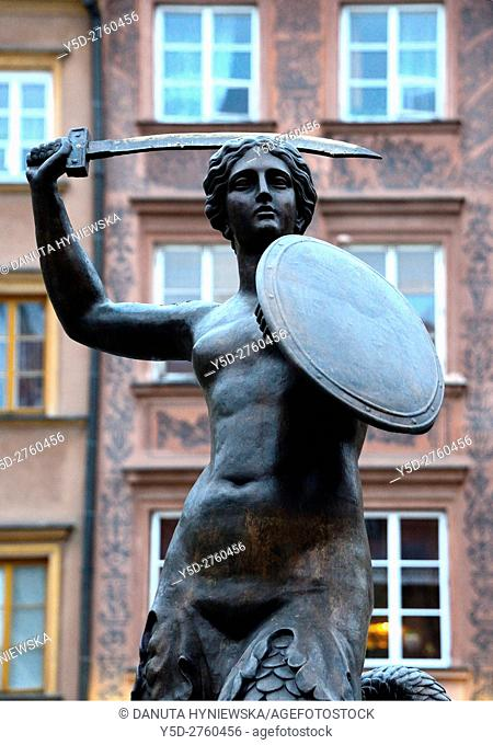 Mermaid - Syrenka - Statue by Konstanty Hegel, symbol of Warsaw, located in the center of Old Town Market Place, Warsaw, Poland, Europe