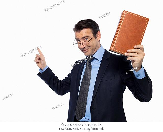 man caucasian teacher professor lecturing isolated studio on white background
