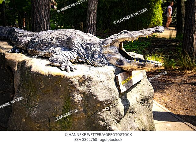 Statue of a crocodile in Beekse Bergen zoo, The Netherlands, Holland