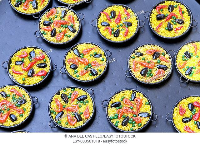 Paella magnets, Typical souvenir from Valencia, Spain
