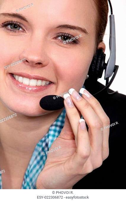 Close-up shot of a call centre agent