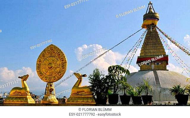 Buddhist Wheel of Life with Boudhanath Stupa
