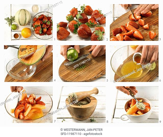How to prepare strawberry and melon salad