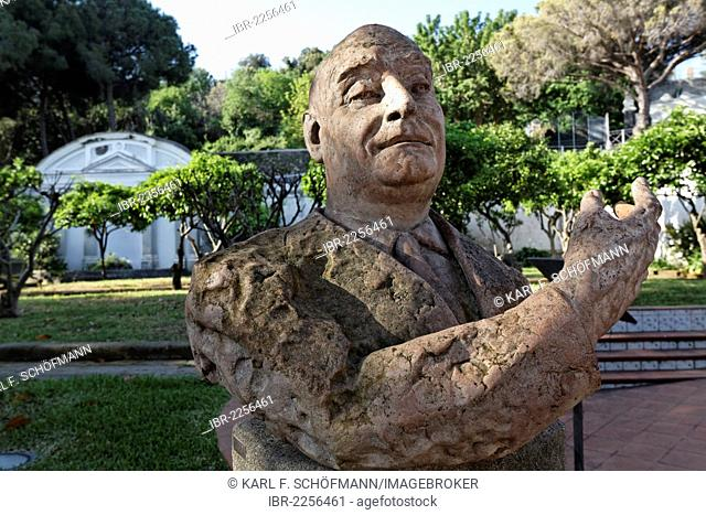 Bust of the publisher Angelo Rizzoli in the gardens of Villa Arbusto, Lacco Ameno, Ischia Island, Gulf of Naples, Campania, Southern Italy, Italy, Europe