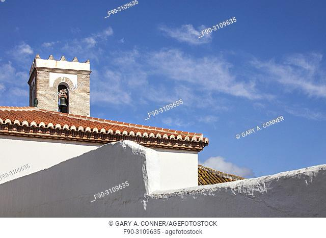 Cathedral and roofs in Salobreña, Granada, Spain