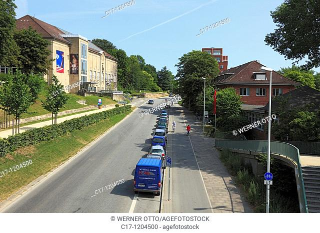 Germany, Kiel, Kiel Fjord, Baltic Sea, Schleswig-Holstein, art gallery, museum, Seehof, restaurant and cafe, Duesternbrooker Weg, traffic road, car traffic