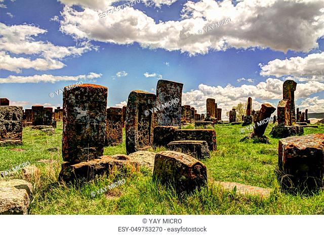 Stone slabs aha khachkar in Noratus cemetery, Armenia
