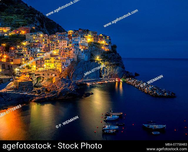 Manarola at night, Cinque Terre, La Spezia, Liguria, Italy, Europe