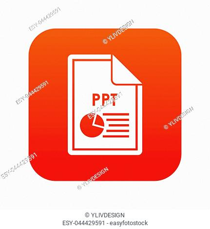 File PPT icon digital red for any design isolated on white illustration