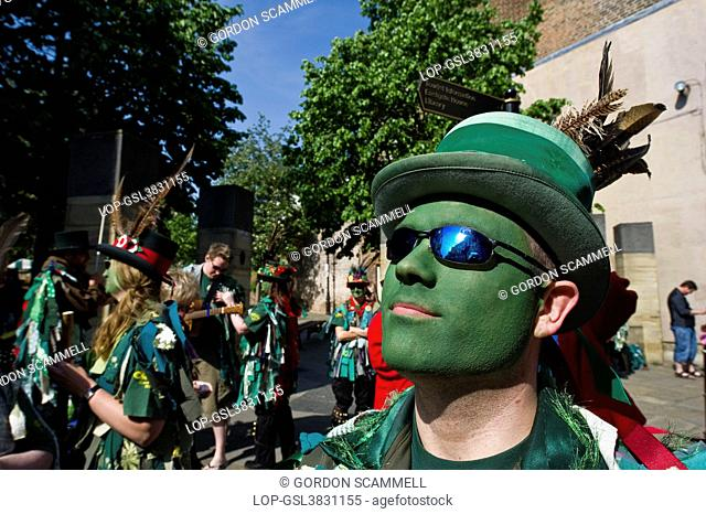 England, Kent, Rochester. A morris dancer from Green Dragon Morris at the annual Sweeps Festival in Rochester