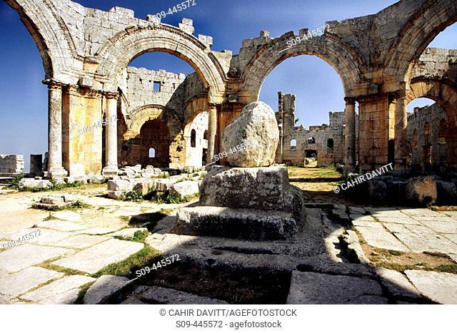 Pillar of St. Simeon residing beneath the main basilica of St. Simeon's church, Qala'At Samann. Halab, Syria