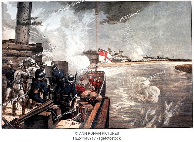 'To the Rescue', war in the Sudan, 1885. British gunboats engaging the enemy on the way up the Nile to relieve General Gordon, besieged by the Mahdi at Khartoum