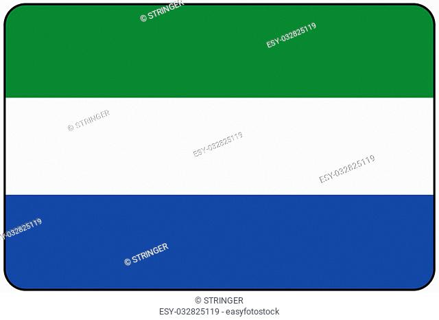 A Flat Design Flag Illustration with Rounded Corners and Black Outline of the country of Sierra Leone