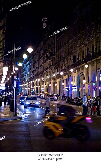 Evening in the streets of Palma de Majorca on Majorca in Spain