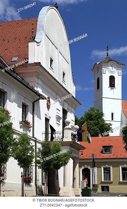 Hungary, Szentendre, Town Hall, St John the Baptist catholic church,