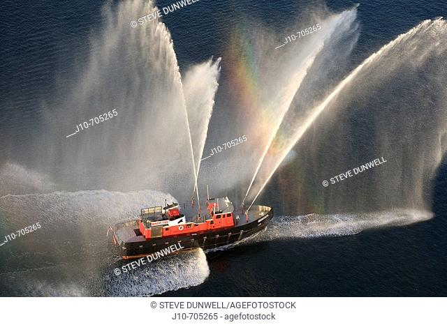 Fireboat spray, aerial view in Boston harbor,  Boston, Usa