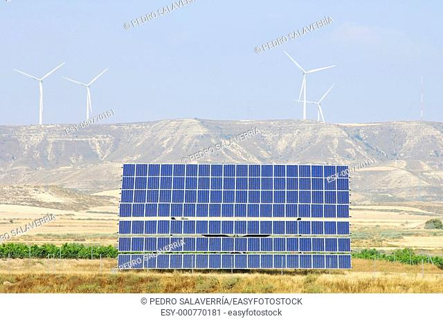 photovoltaic panels and windmills in the hill, Robres, Huesca, Aragon, Spain
