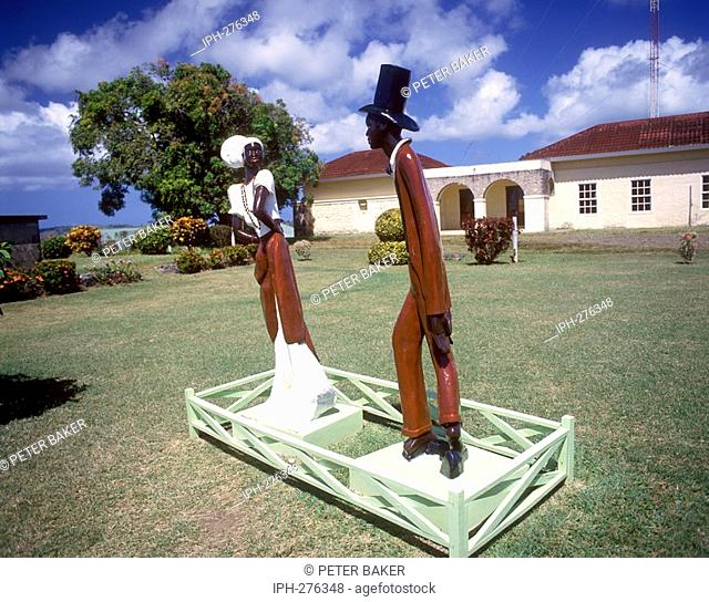 Tobago - Display outside Fort King George which houses the museum of Tobagan History
