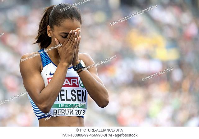 08.08.2018, Berlin: Track and Field: European Championships in the Olympic Stadium: 400m, preliminary round, women: Laviai Nielsen from Great Britain is happy...