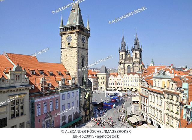Old Town Hall, Tyn Church, Hotel U Prince terrace, Old Town Square in Prague, Old Town, Czech Republic, Europe