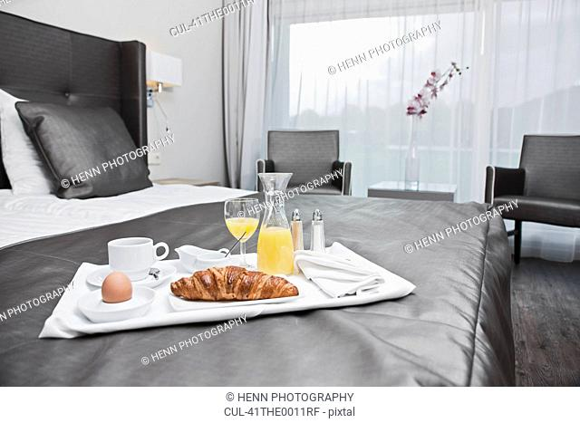 Tray of breakfast in hotel room