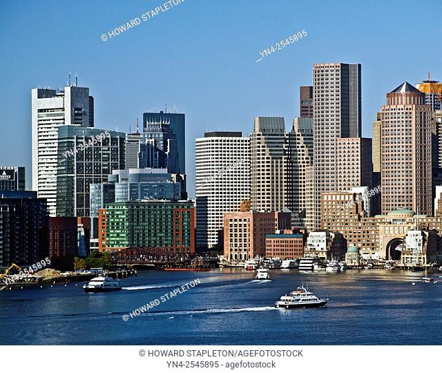 Boston, Massachusetts harbor and skyline