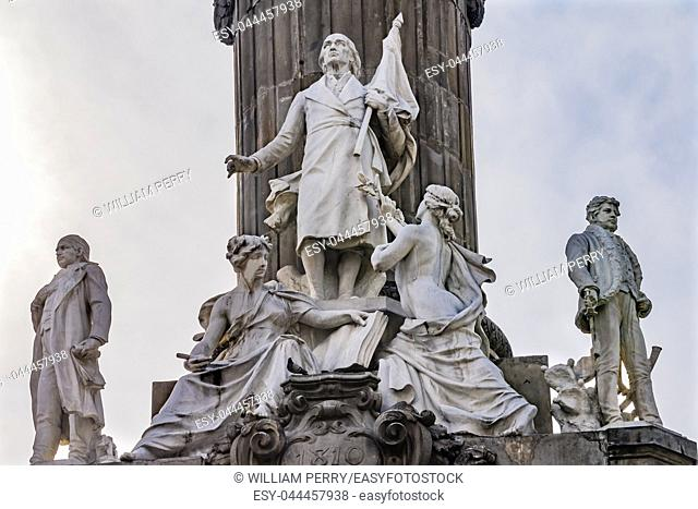 Miguel Hidalgo Vicente Guerrero Morelos Statues Independence Angel Monument Mexico City Mexico. Built in 1910 celebrating Independence war in early 1800s