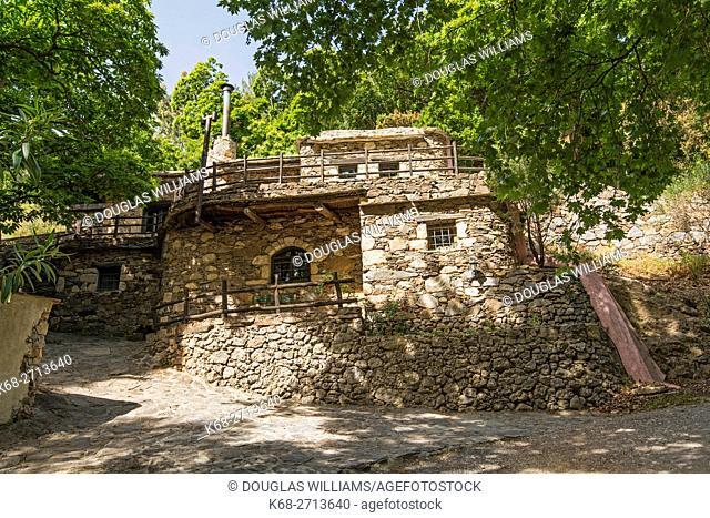 Stone buildings of Milia Mountain Retreat in western Crete, Greece