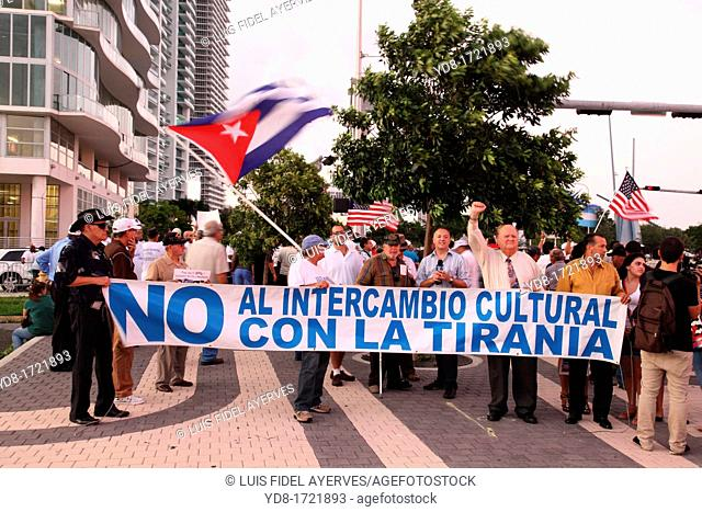 Demonstration of Cuban exiles in the United States protesting the presence of musicians living in Cuba for a visit to work in different locations in Miami
