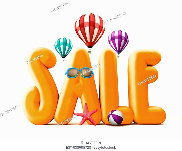 3D Rendered Orange Sale Word Title for Summer Promotions in White Background with Flying Balloons, Starfish, Beach Ball, and Sunglasses Illustrations