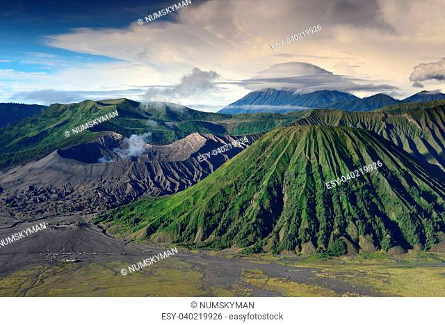 landscape of Lenticular cloud on top of Volcanoes in Bromo mountain at Java, Indonesia