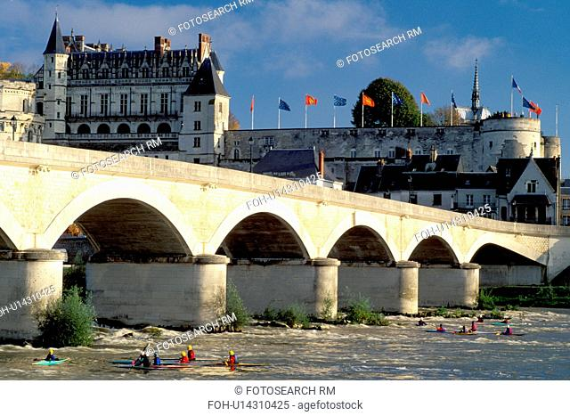 France, Amboise, Loire Valley, Loire Castle Region, Europe, Chateau Amboise a 15th century castle across the Loire River. Kayaking on the river