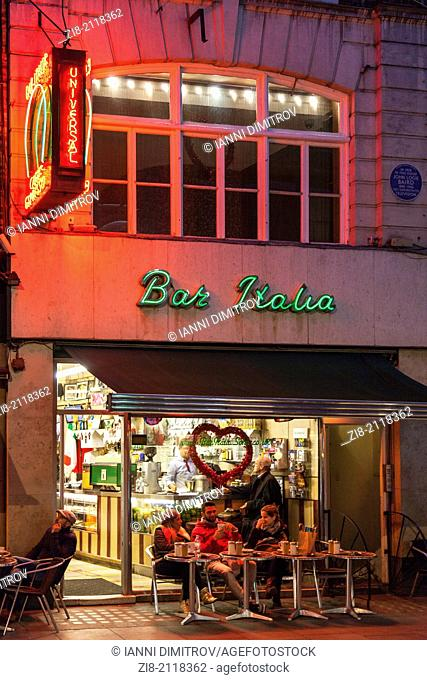 Bar Italia at night,Firth Street,Soho,London