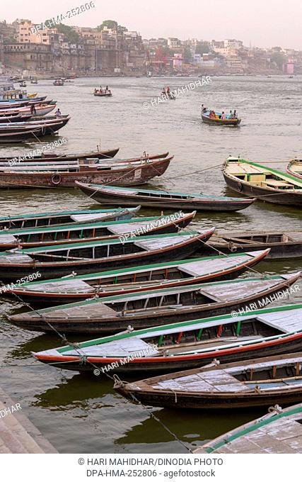 Boats parked, varanasi, uttar pradesh, india, asia