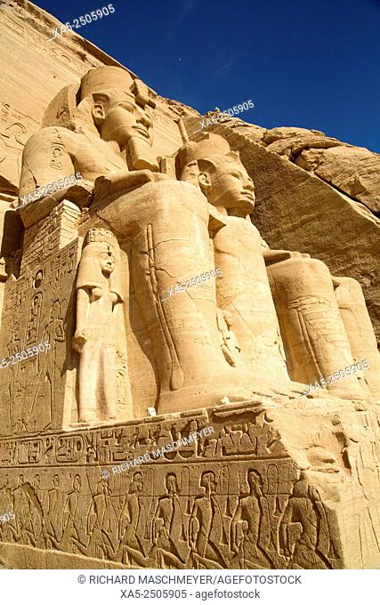 Queen Nefertari (smaller statue), Colossi of Ramses II, Sun Temple, Abu Simbel, Egypt