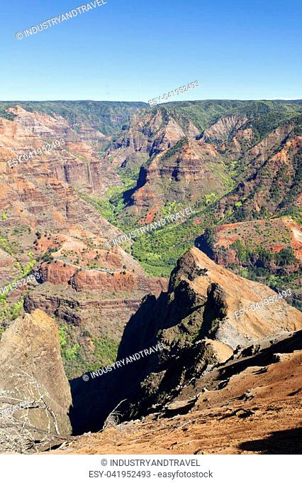 Waimea Canyon seen from the main lookout in Kauai, Hawaii