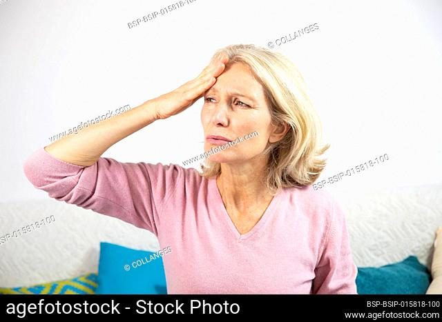 A woman in her fifties with a migraine