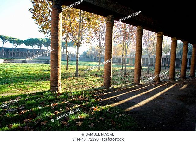 The palaestra was built near the amphitheater during the reign of Augustus 1st century BC - 1st century AD. It comprised a large open courtyard for sporting...