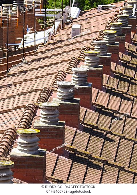 Roof details, El Masnou, Barcelona province, Spain