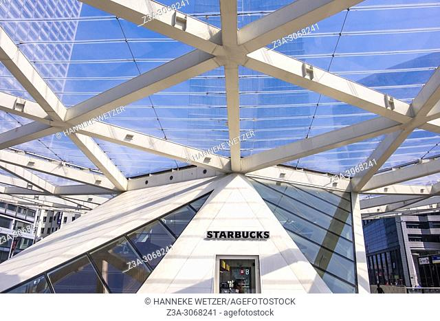 Starbucks situated in the Triangular canopy at Place Rogier, Brussels, Belgium, Europe
