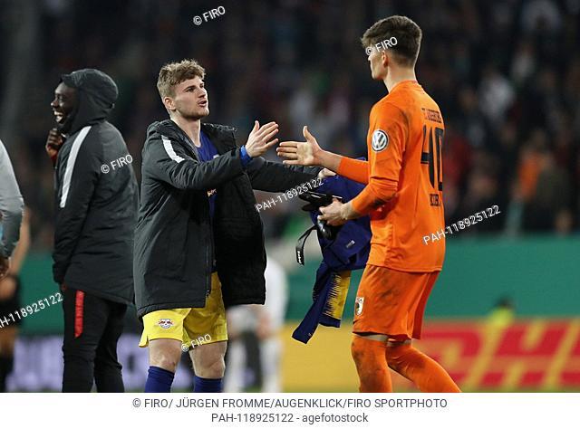 firo: 02.04.2019 Football, DFB-Pokal, DFB Pokal, ViertelFinale, season 2018/2019, FC Augsburg - RB Leipzig 1: 2 nV Timo Werner