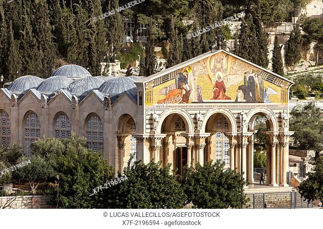 Church of all nations also called agony basilica in the garden of Gethsemani on the Mount of Olives., Jerusalem, Israel