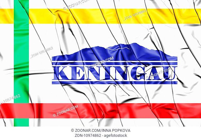 3D Flag of Keningau (Sabah), Malaysia. 3D Illustration