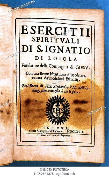 Cover of the Italian edition 'Esercitti spirituali di San Ignatio di Loyola', printed in Rome, St?