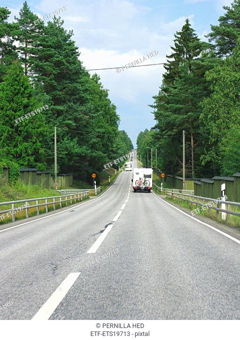 Scandinavia, Sweden, Sodermanland, Trailer on road