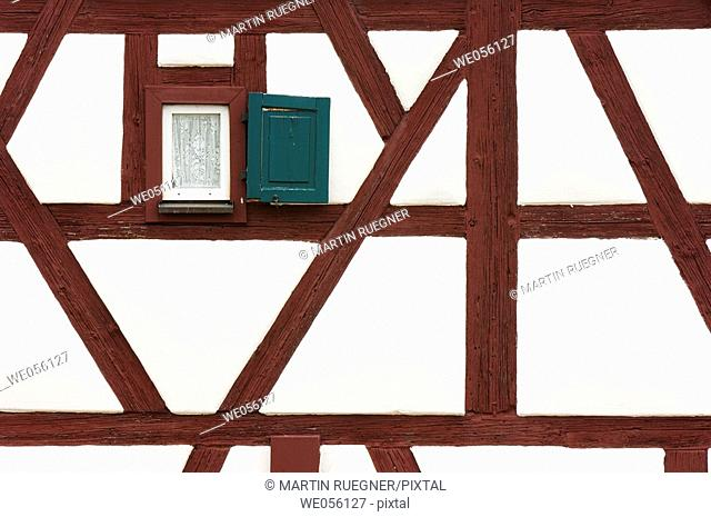 Small window at half-timbered construction detail. Franconia, Bavaria, Germany, Europe