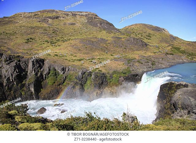 Chile, Magallanes, Torres del Paine, national park, Salto Grande, waterfall,