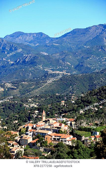 The village of Aspremont in the back country, Alpes-Maritimes, Provence-Alpes-Côte d'Azur, France